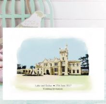 Wedding Venue Portrait Illustration Invitations - Personalised with Your Wedding Venue - FREE Framed Keepsake Print With Every Order